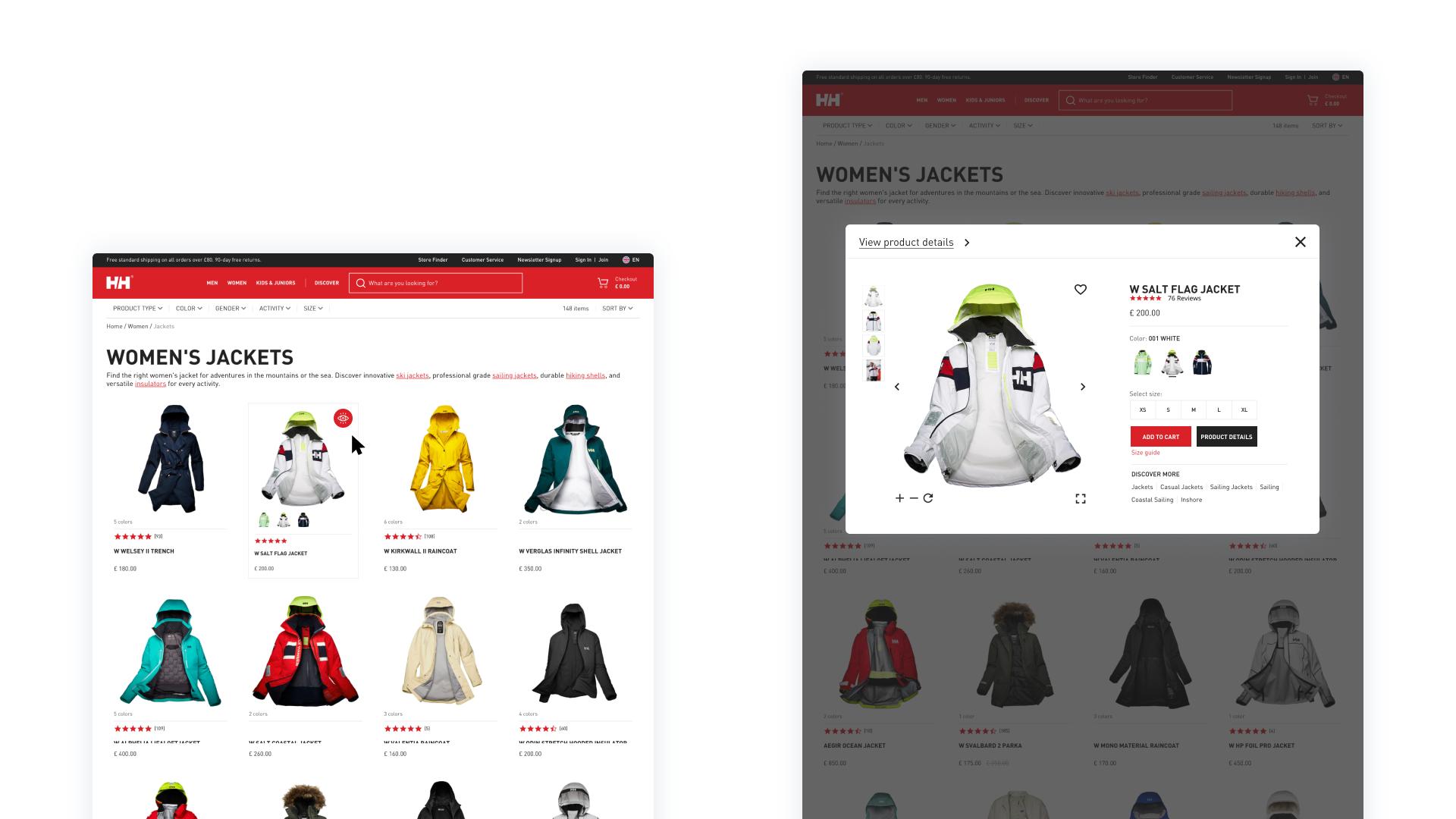 Quick view feature - desktop