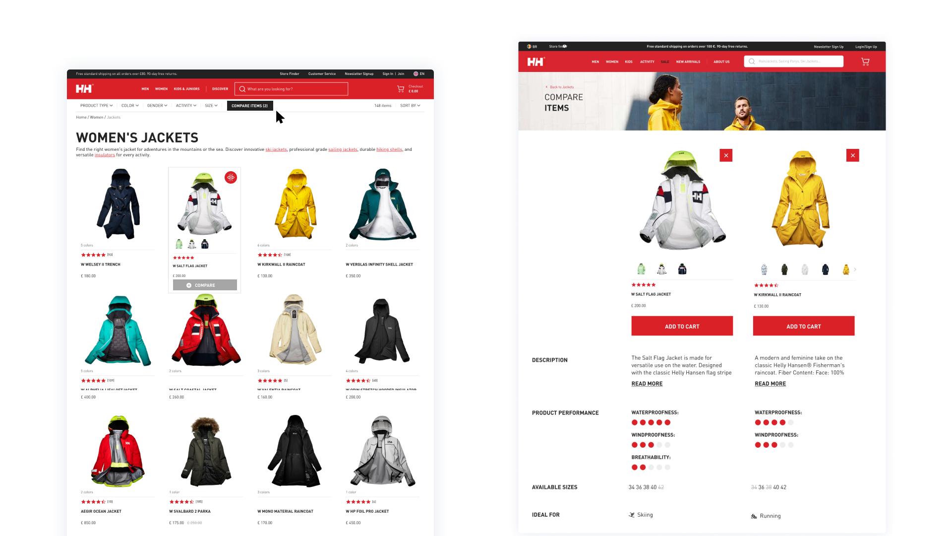 Product comparison feature - desktop