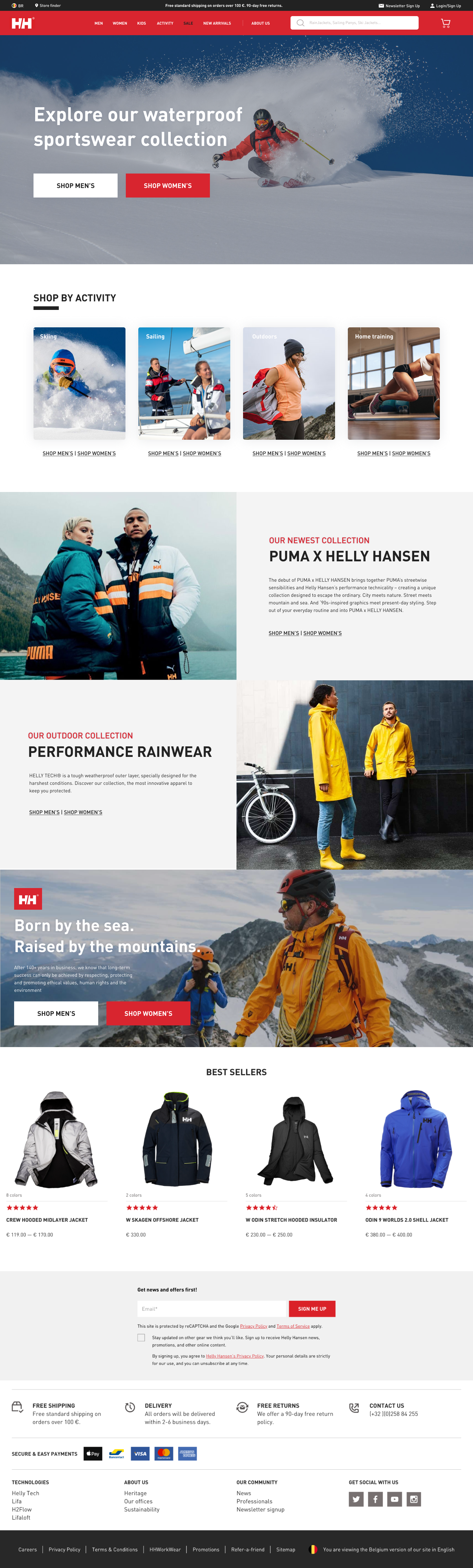 Helly Hansen's home page - after