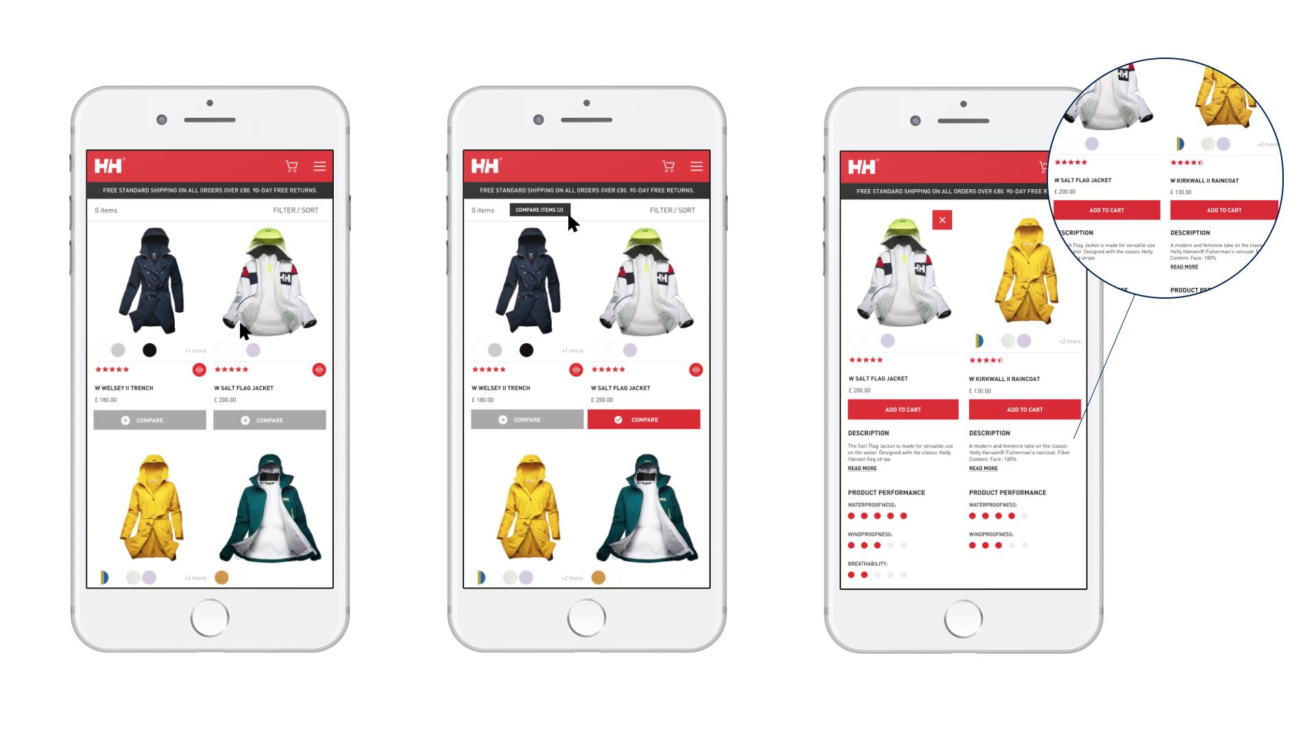 Product comparison feature - mobile